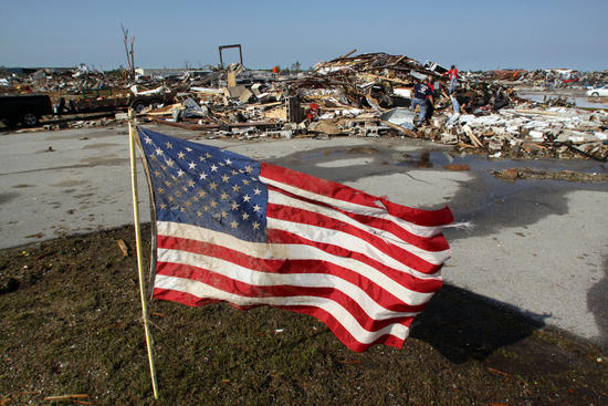 american flag ruins