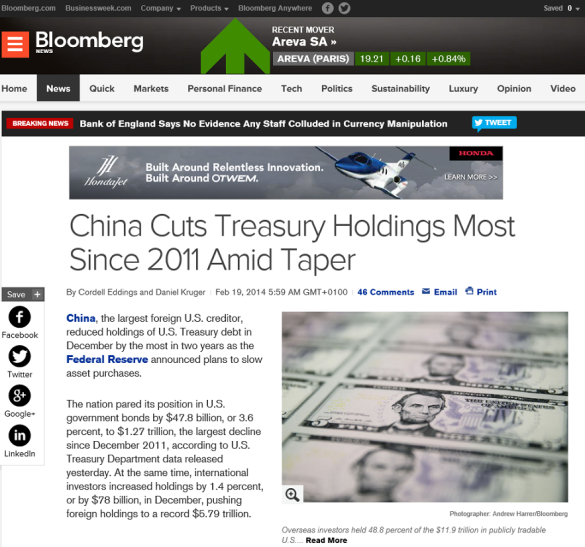 noticia bloomberg venta deuda china