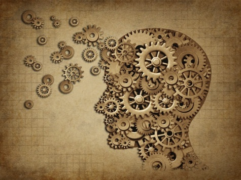Human brain function grunge with gears
